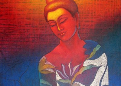 M G Doddamani - the buddha,acrylic on canvas,24-24 inches