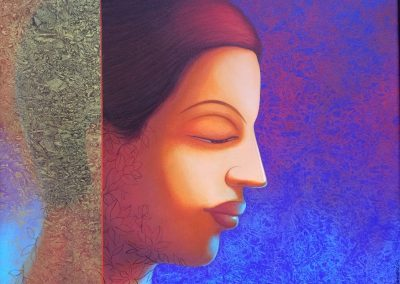 M G Doddamani -the golden light,acrylic on canvas,24-36 inches