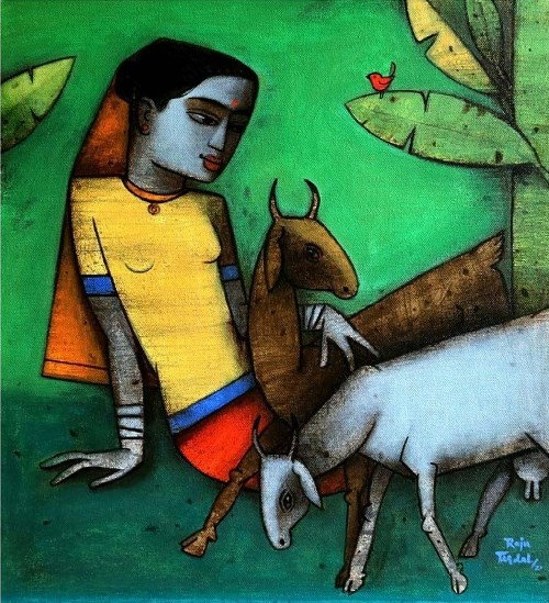Girl and goat by Raju Terdal